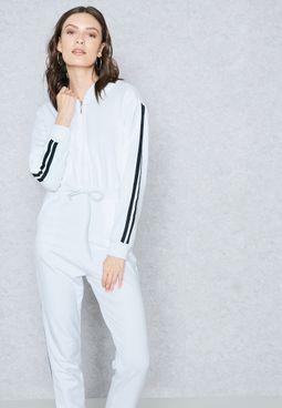 Contrast Side Paneled Hooded Jumpsuit