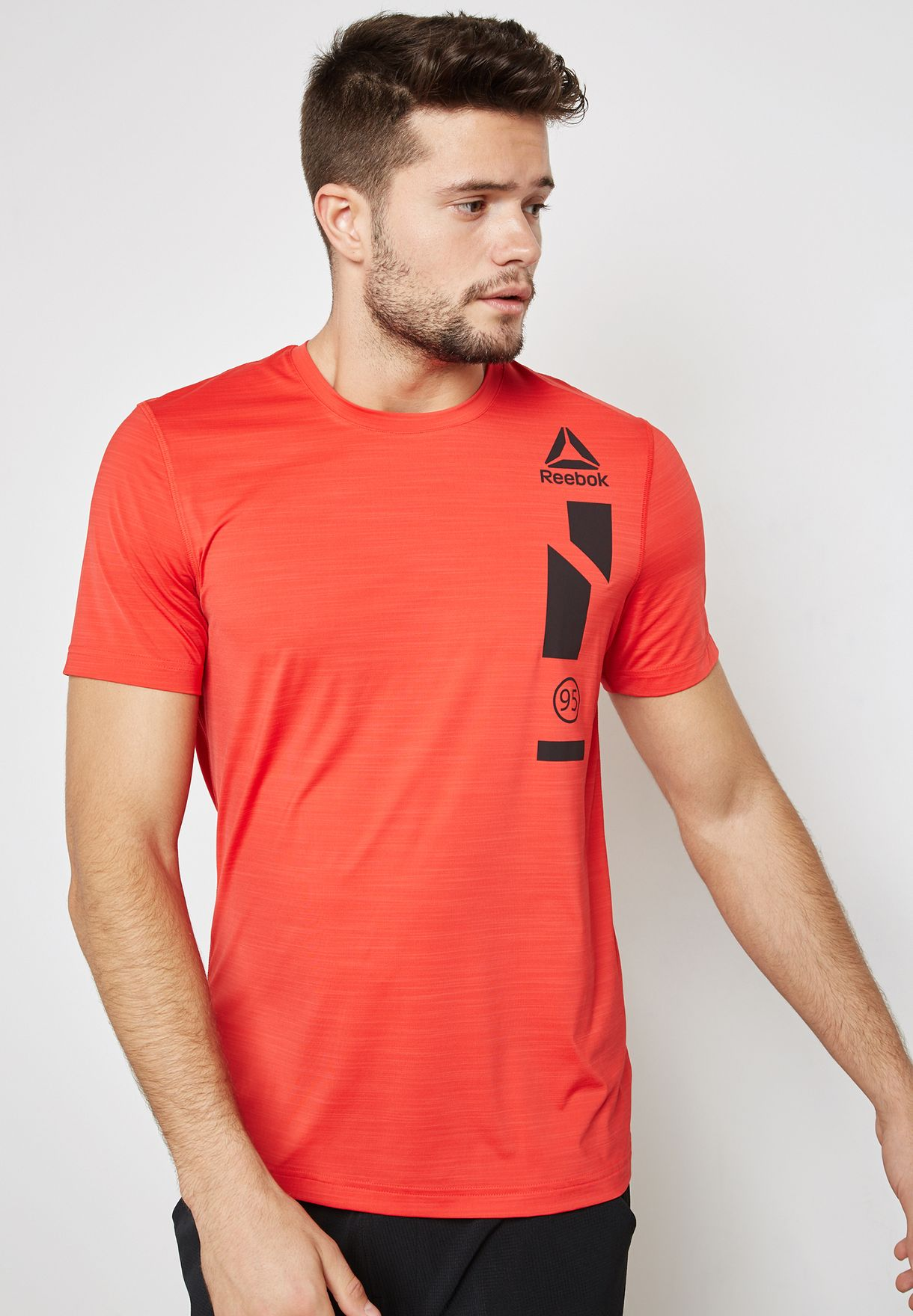 24e2bd18725ae Shop Reebok red Workout Ready Activchill Graphic T-Shirt CE0673 for ...