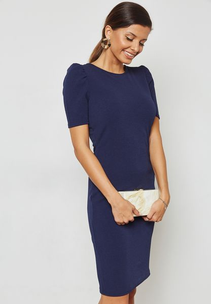 Tuck Sleeve Bodycon Dress