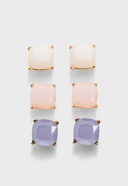 Square Gem Stud Earrings Set