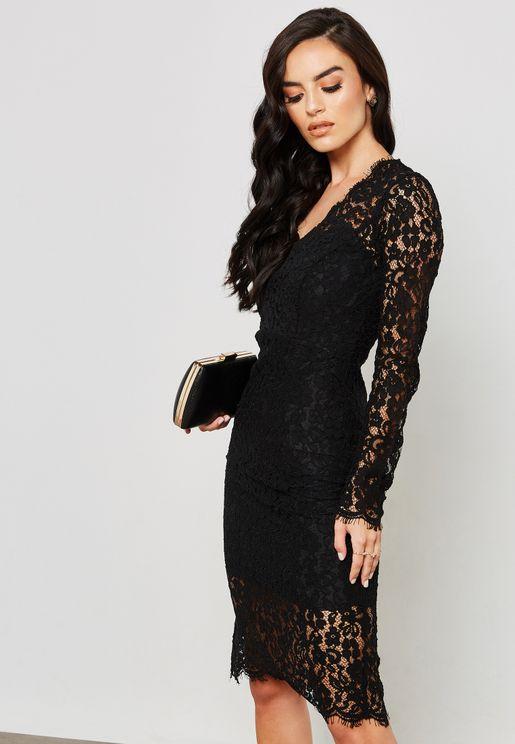 V Neck Lace Midi Dress