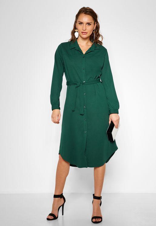فستان ميدي بنمط قميص مع اربطة