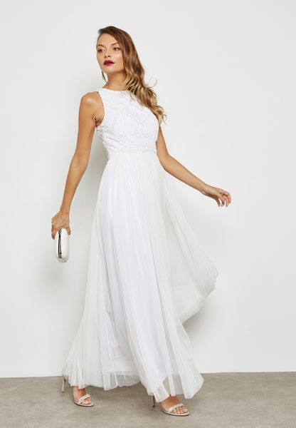 Embellished Pleated Maxi Gown