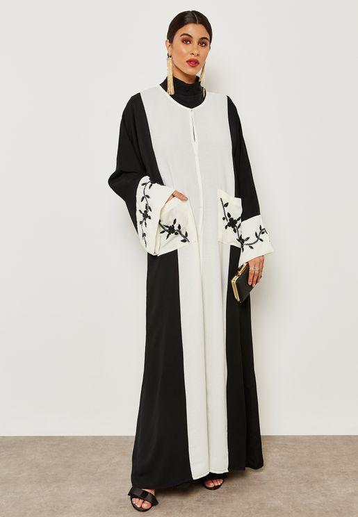 Colourblock Beadwork Detail Abaya