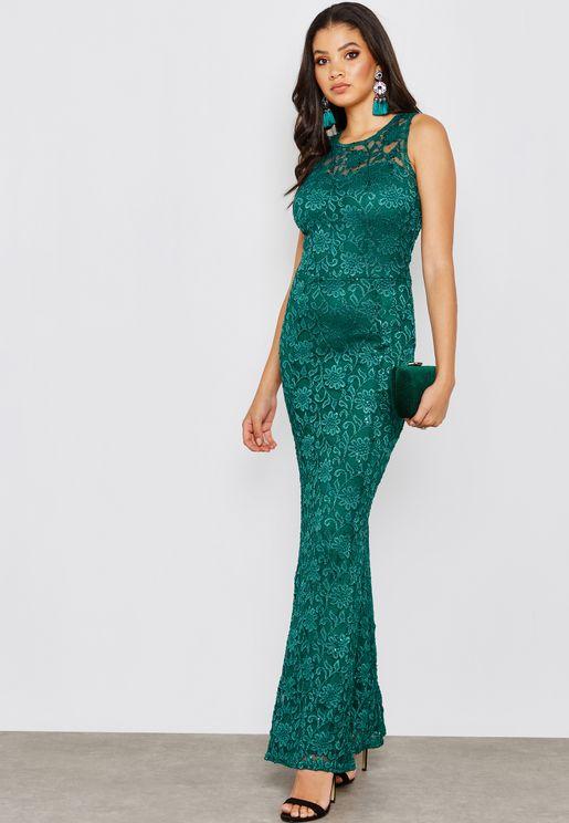 فستان دانتيل مزين بالترتر