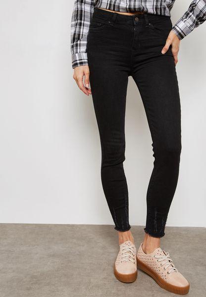 Ripped Hem Jeans
