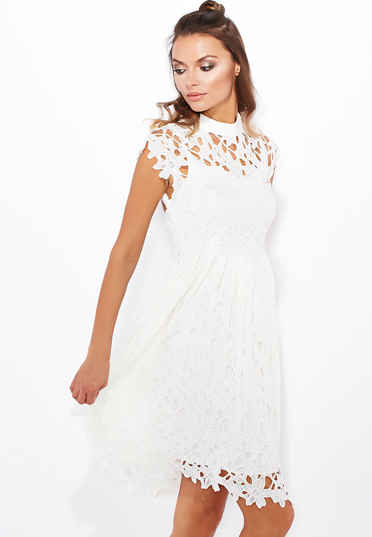 98c0840fdeb9 Shop Boohoo white Crochet High Neck Dress AZZ16125 for Women in ...