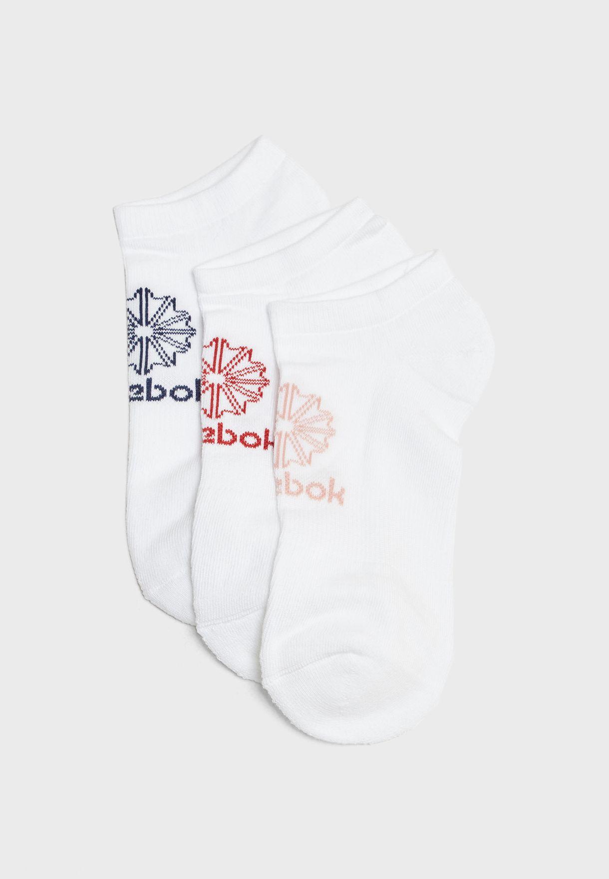 Shop Reebok white 3 Pack No Show Socks CV8659 for Men in UAE ... b2068f5a8