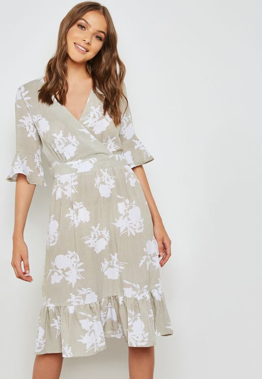 Frill Sleeve Wrap Dress