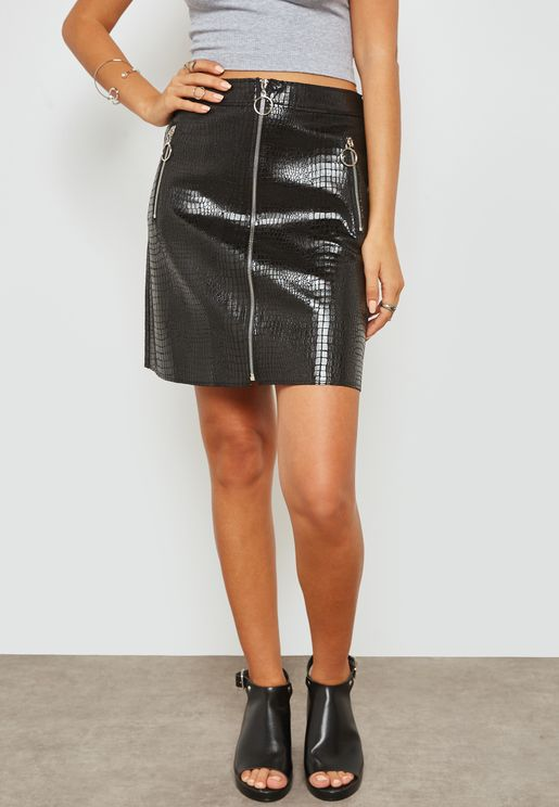 PU Croc Zip Detail Skirt