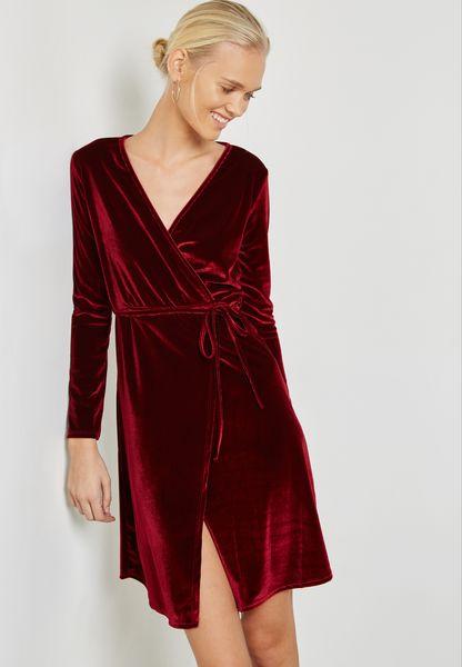 Wrap Front Tie Velvet Dress