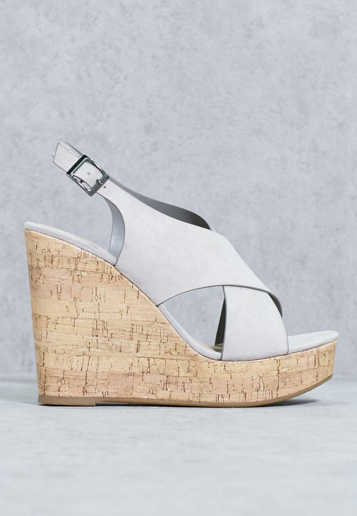 3bd7d1a7935 Shop New Look grey High Wedge Cross Strap Sandal 51758094 for Women ...