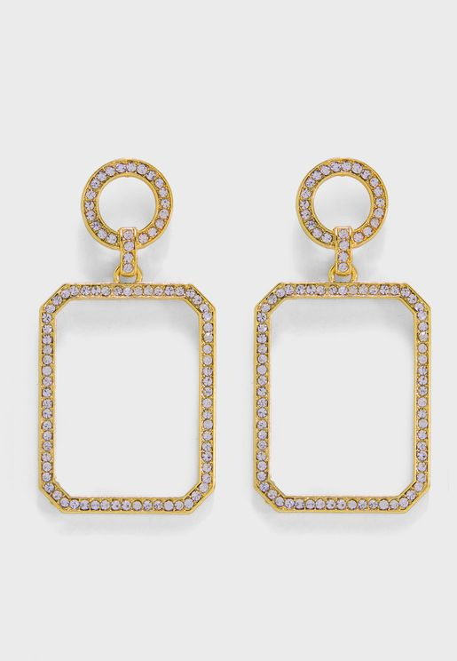 Circle Square Drop Earrings
