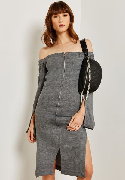 Zip Detail Bardot Sweat Dress