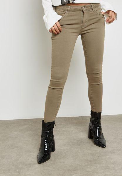 Coloured Raw Hem Skinny Jeans