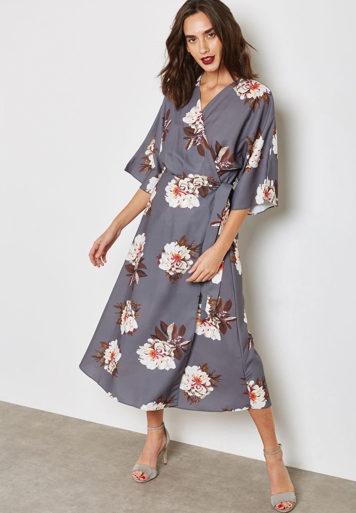 8bf059bc1 Shop Ella prints Floral Print Wrap Front Self Tie Dress 6384 for ...