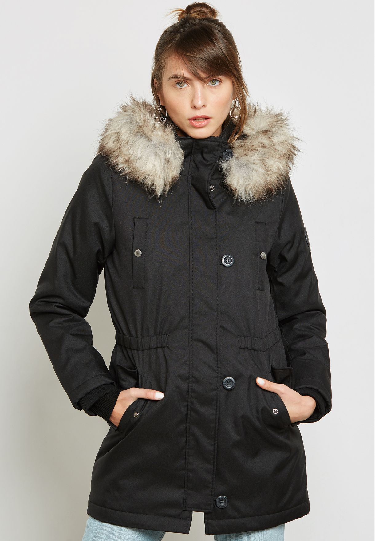 f57488f039d Shop Only black Faux Fur Jacket 15136156 for Women in UAE - ON544AT37NTM