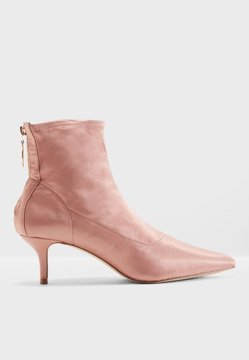 Amor Satin Kitten Heel Ankle Boot