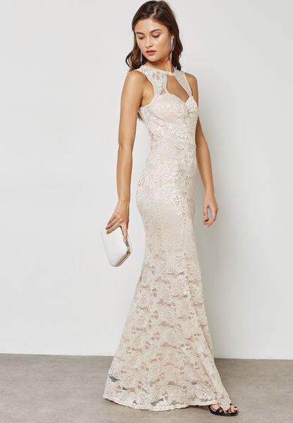Lace Plunge Bodycon Maxi Dress