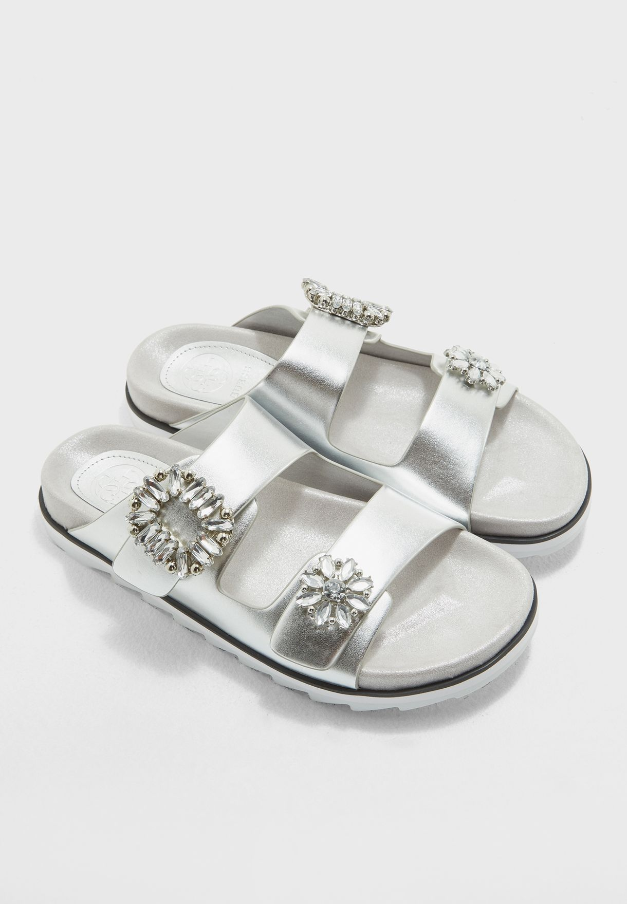 f12a4522497c Shop Guess silver Two Strap Buckle Slides gwCAMBRIE for Women in UAE ...