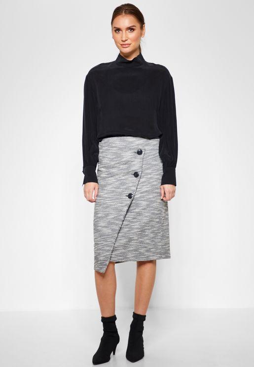 Button Detail Textured Skirt