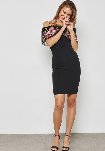 Lipsy. Embroidered Bardot Dress