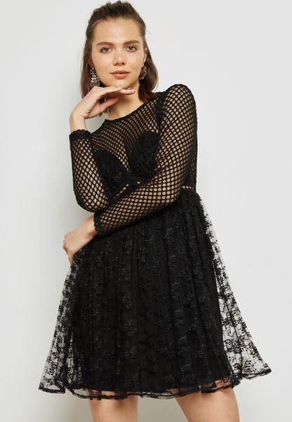 Fishnet Overlay Dress