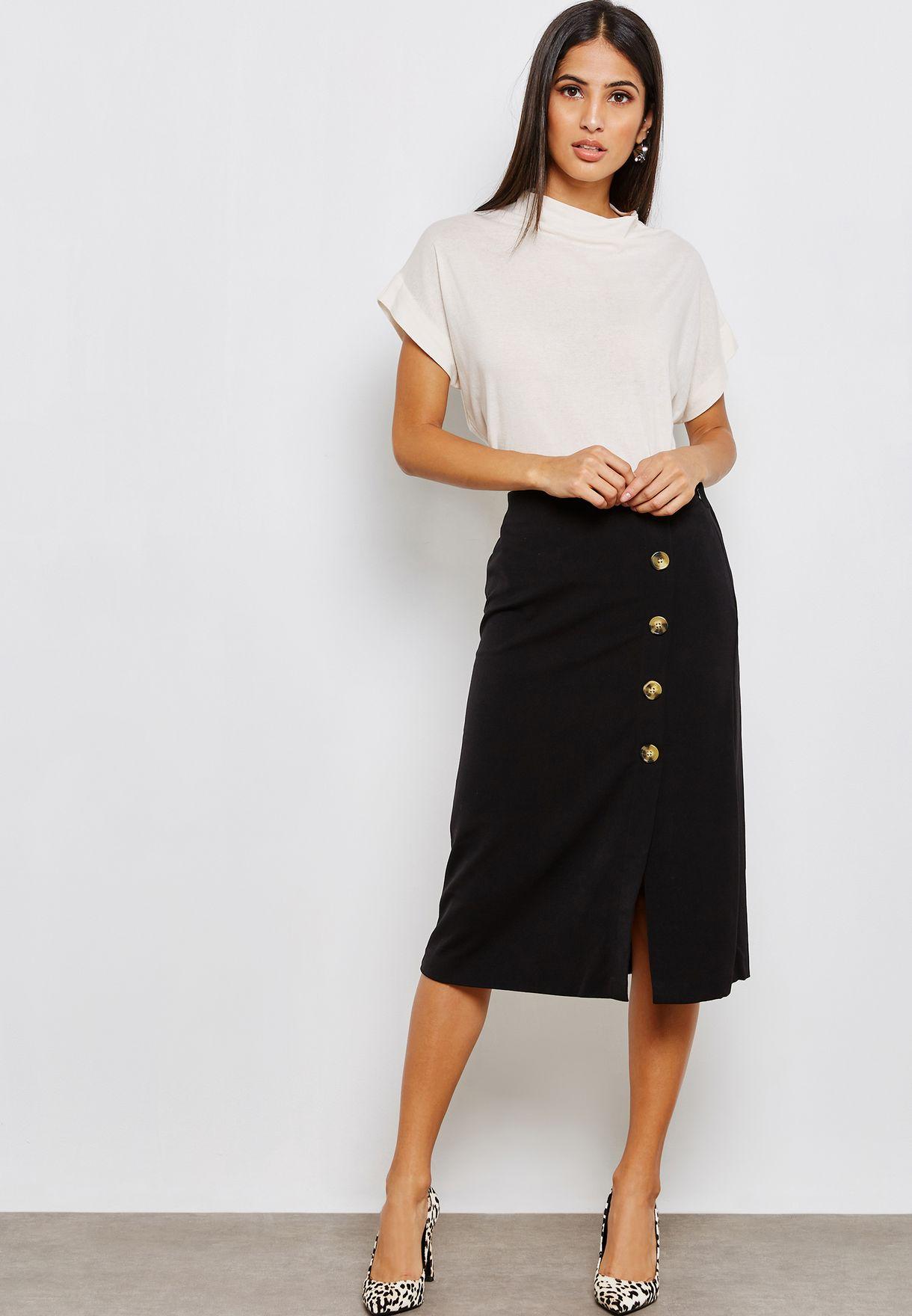 f2a0f206ed6e Shop Mango black Button Detail Midi Skirt 33069045 for Women in UAE ...