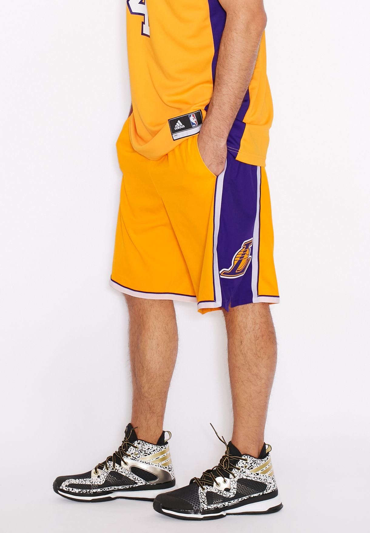 Shop adidas yellow LA Lakers Shorts A20641 for Men in Saudi - AD476AT37OEK 01342880c