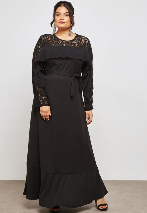 Lace Detail Ruffle Self Tie Maxi Dress