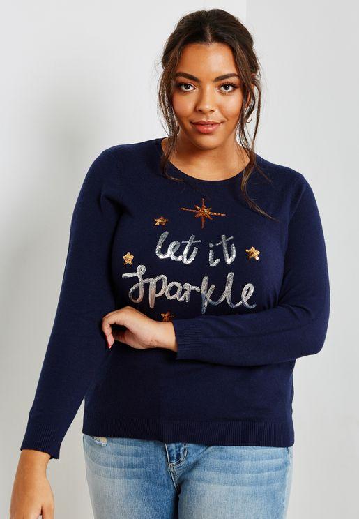 Christmas Embellished Detail Slogan Sweatshirt