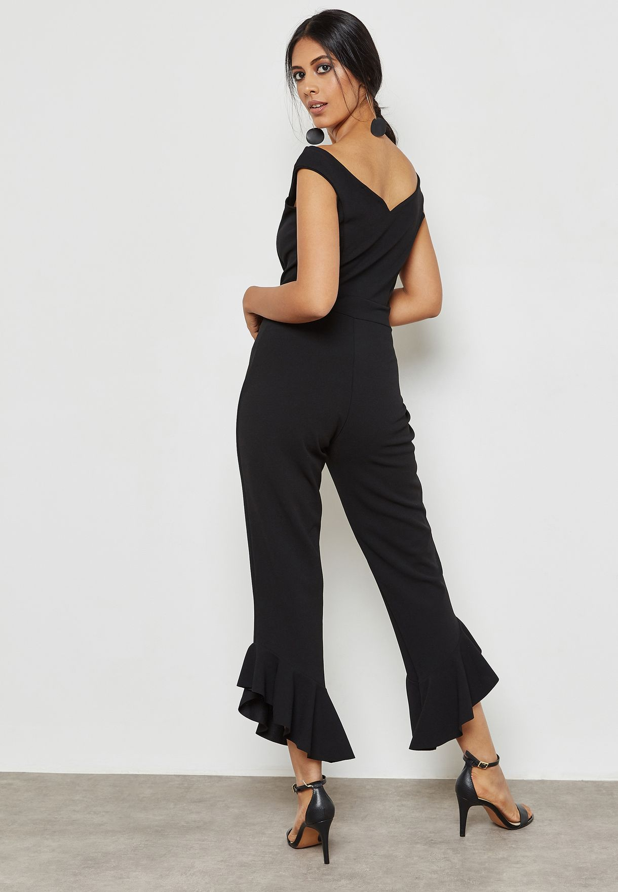 9f5417b8152f Shop Quiz black Ruffle Detail Jumpsuit 00100012911 for Women in ...