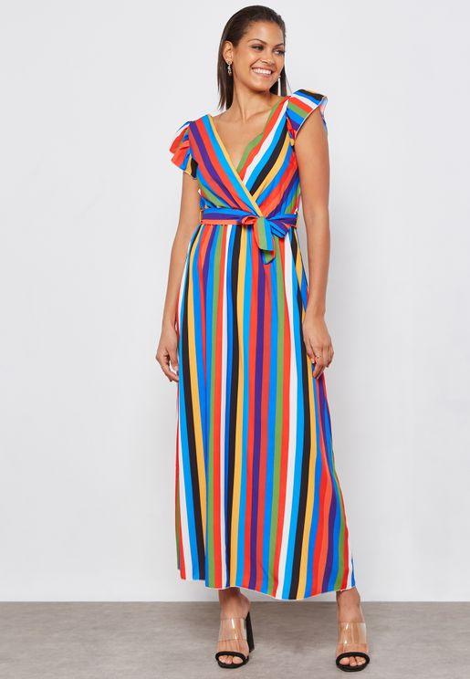 Striped Wrap Front Maxi Dress