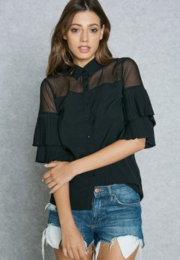 Pleated Sleeve Mesh Detail Shirt