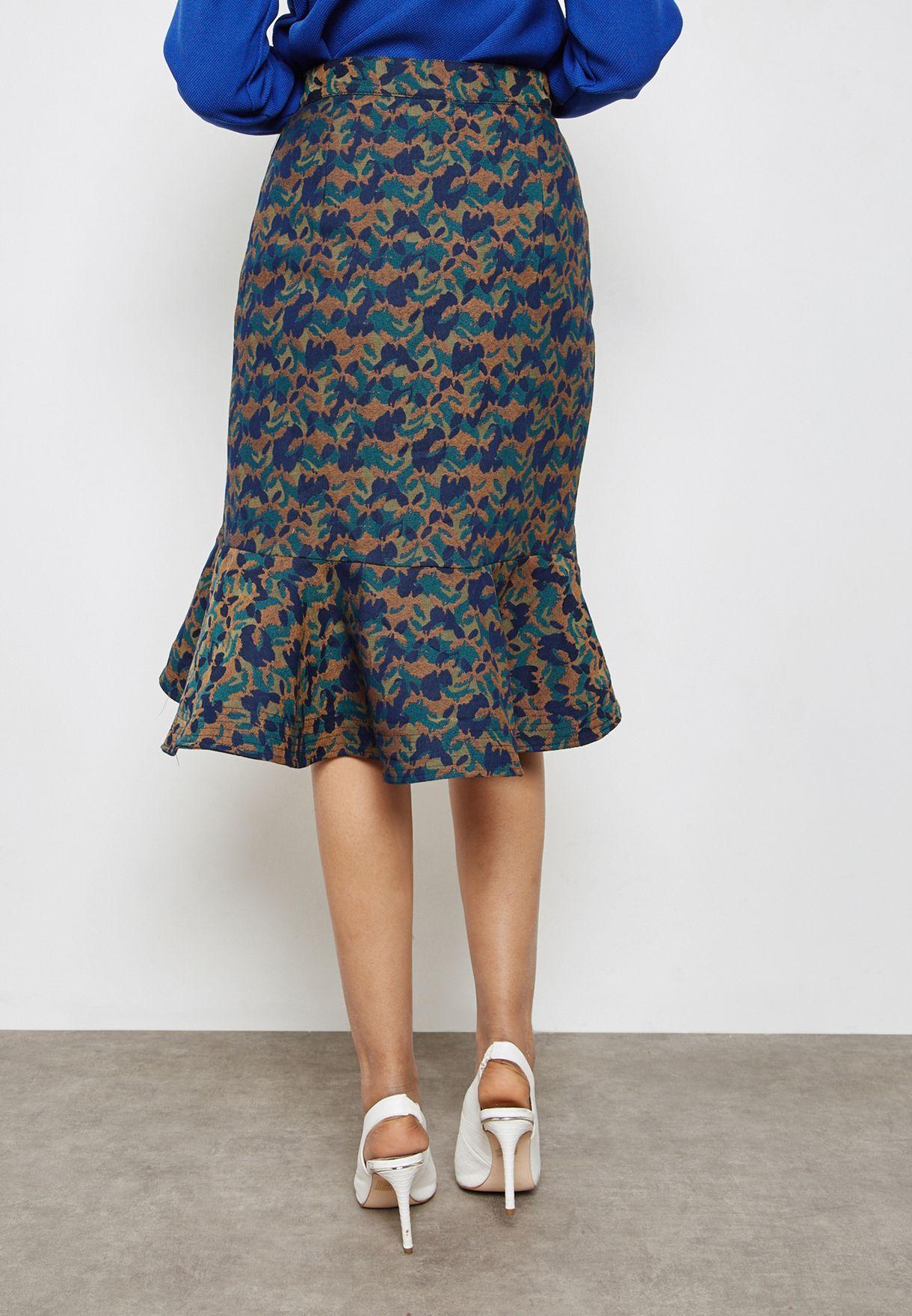 Asymmetric Printed Ruffle Skirt