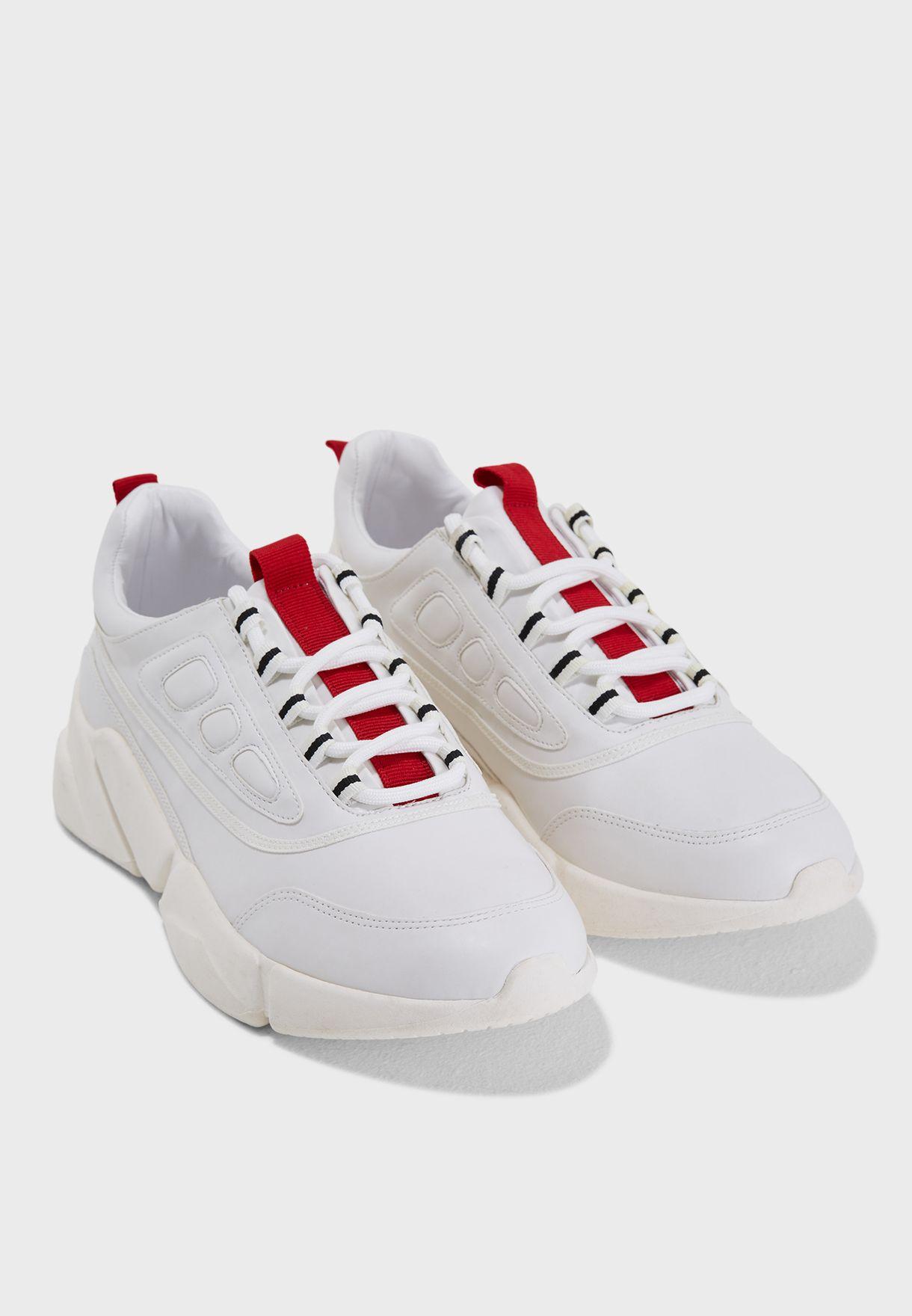 Shop Mango white Frey Contrast Appliqué Chunky Sneaker ... eb6b78a57