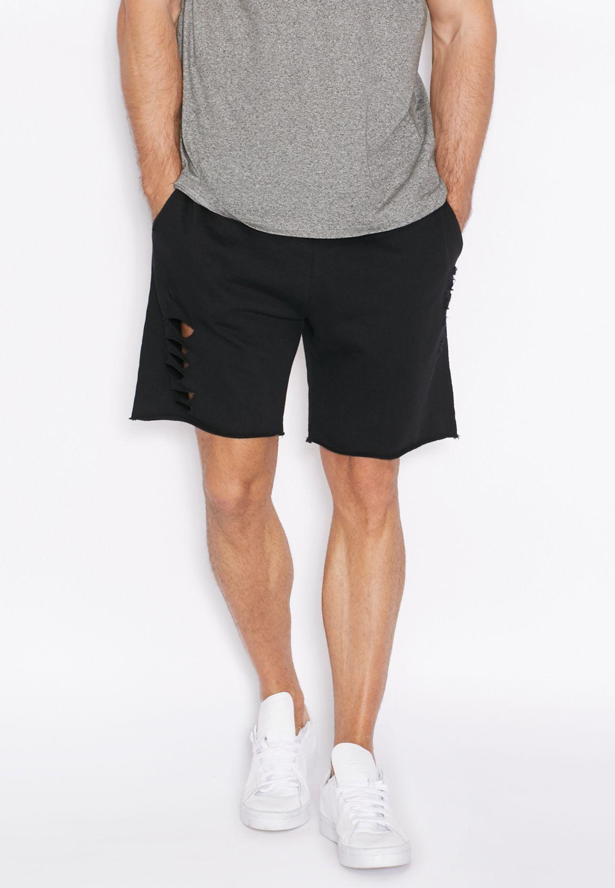 1e6b10cfe2 Shop Topman black Raw Edge Sweat Shorts for Men in Bahrain ...