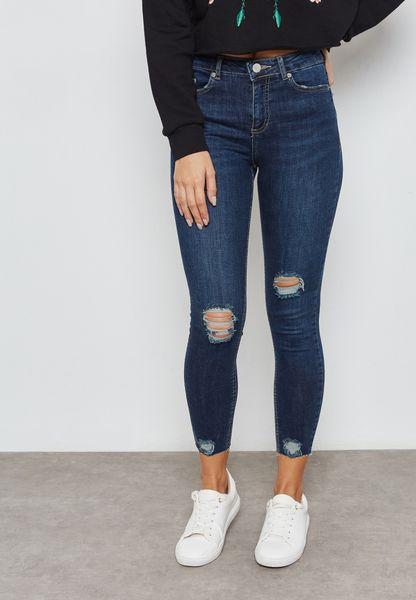 LIZZIE Ankle Grazer Ripped Jeans