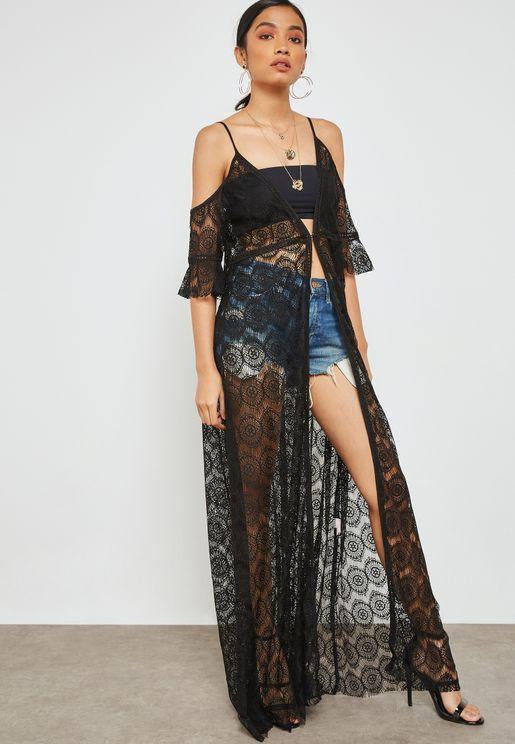 Sheer Lace Cold Shoulder Maxi Beach Dress