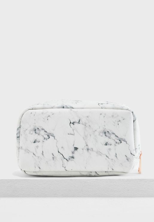 Large Marble Cosmetic Bag