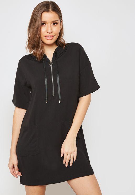 Zip Front Hooded Dress