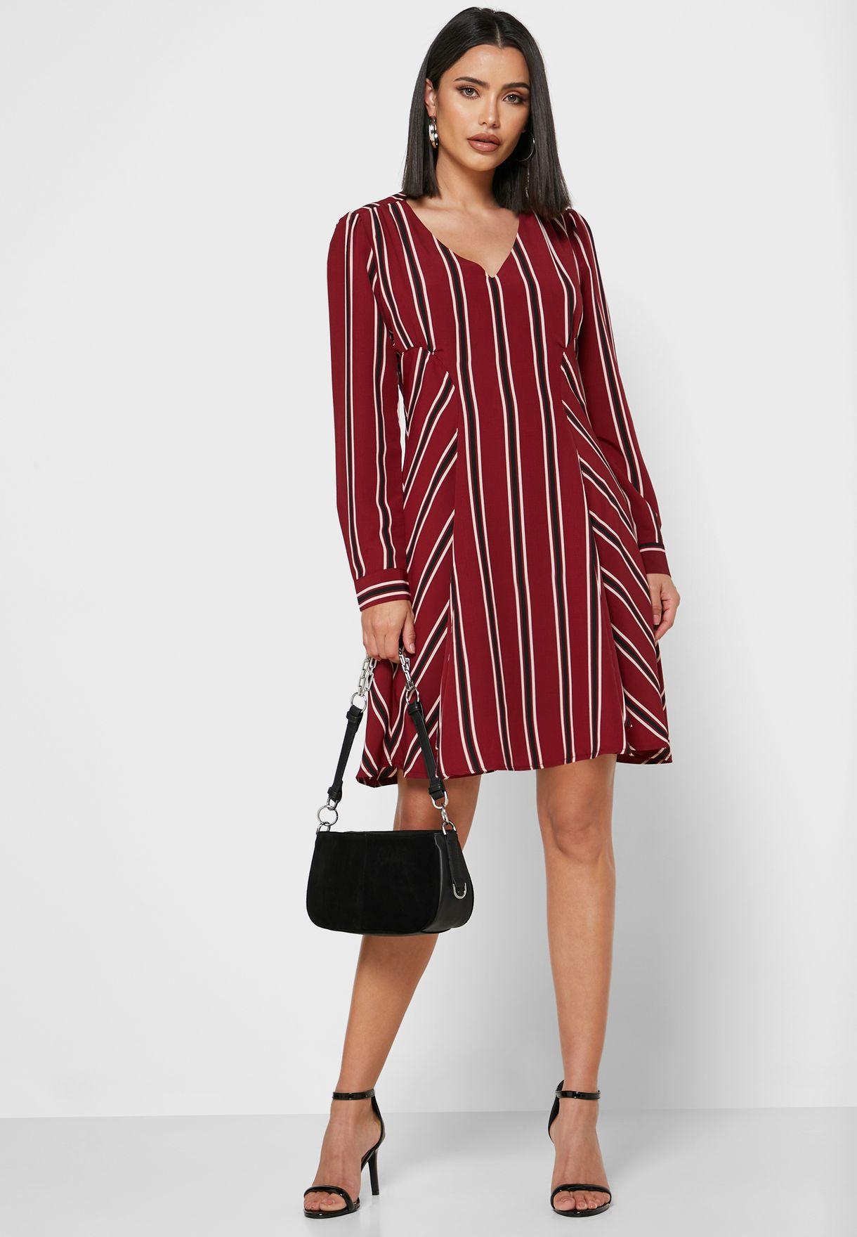 Striped Fit & Flare Midi Dress