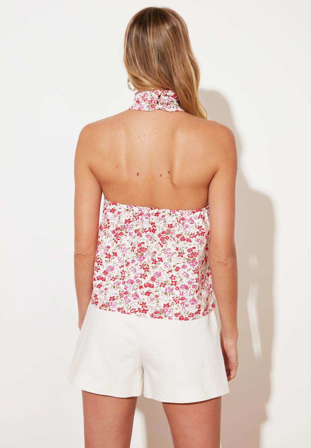 Floral Print Halter Neck Top