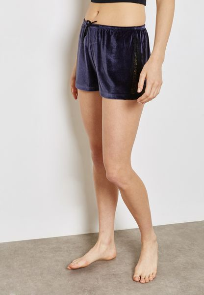 Lace Trim Velvet Shorts