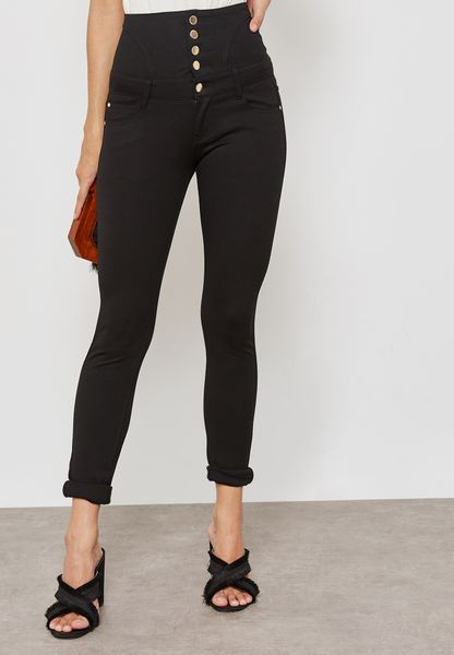 Button Extreme High Waisted Jeggings