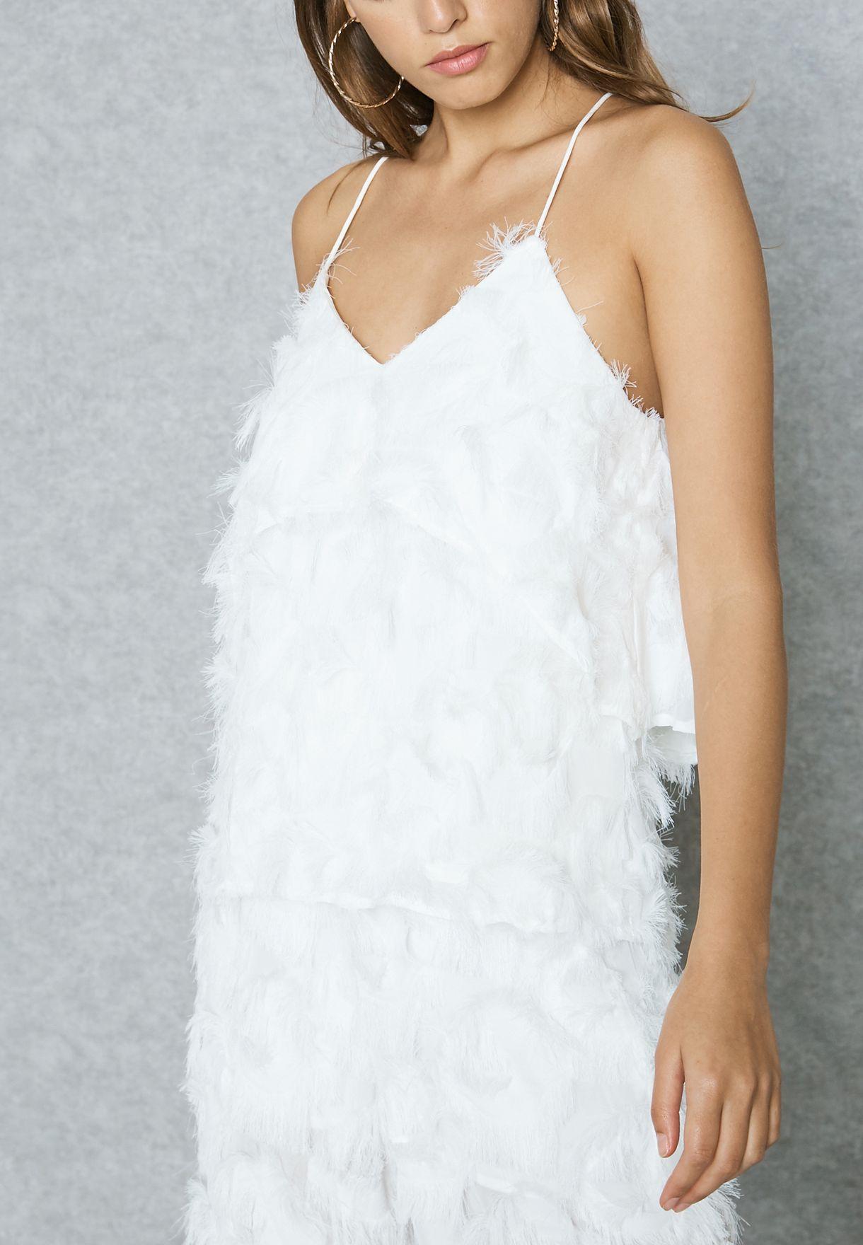 Shop Elliatt white Feather Effect Cami Top E8061726 for Women in ...