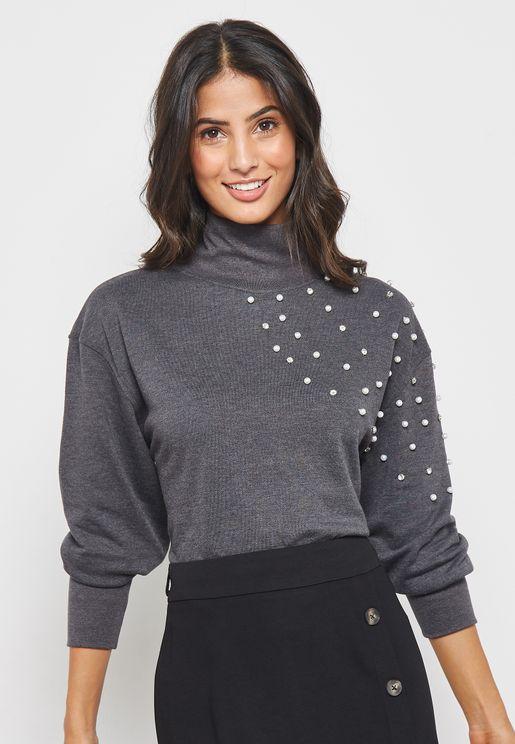 High Neck Embellished Sweater