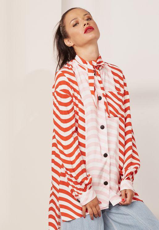 Undone Collar Printed Sleeve Detail Shirt