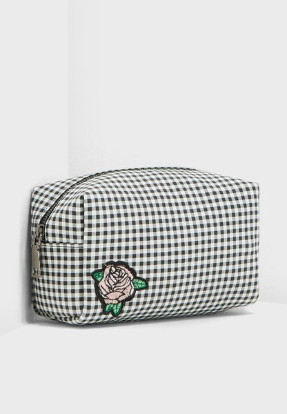 Embroidered Rose Cosmetic Bag