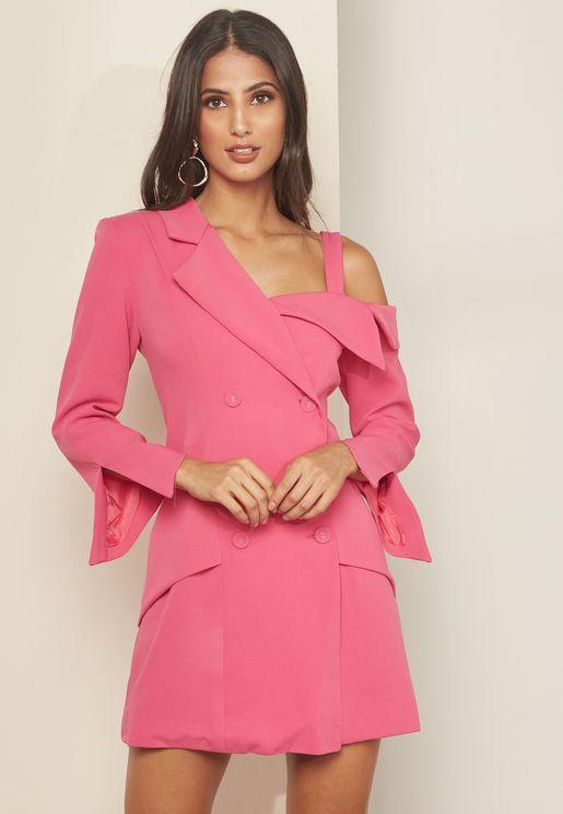 Opulent One Shoulder Blazer Dress